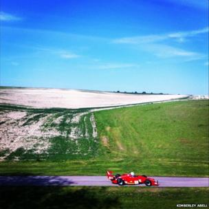 Racing car in the landscape