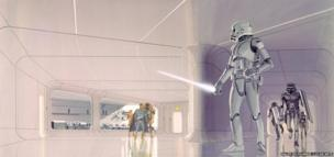 Ralph McQuarrie: Armed Stormtroopers on the floating prison planet Alderaan: Concept art for A New Hope