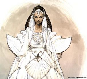 Iain McCaig: Padme Wedding costume concept art for Attack of the Clones (Pencil and marker on paper)