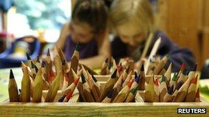Children colouring at nursery