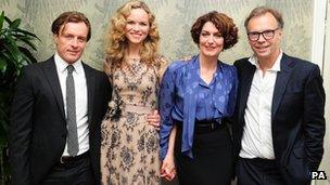 (l-r)Toby Stephens, Anna-Louise Plowman, Anna Chancellor and Jonathan Kent at the opening night afterparty for Noel Coward's Private Lives