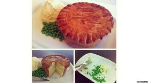 Pie, mash and peas made out of cake