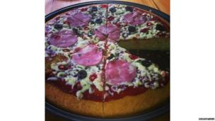 Pizza made out of cake