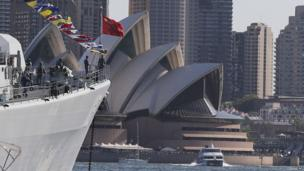 Chinese warships Plan Qingdao anchors in Sydney Harbor with the Opera House in the background during the International Fleet review in Sydney,