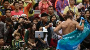Fans watch as Rafael Nadal