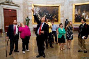 Senator John Boozman leads a tour in the Rotunda on Capitol Hill in Washington