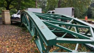 Crushed model bridge. Photo: Roy Alexander