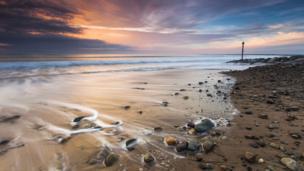 Sunset at Dinas Dinlle, Gwynedd