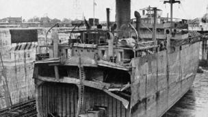 War damaged ship