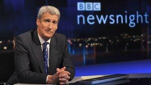 Jeremy Paxman at Newsnight desk