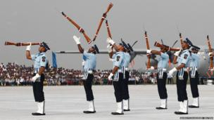 Indian Air Force soldiers perform