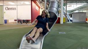 State Senator Wendy Davis on a slide
