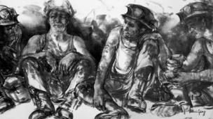 Miners Taking a Break gan Valeri Ganz