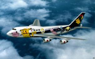 A plane decorated in Pokemon livery