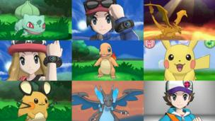 A montage of images from Pokemon X and Y