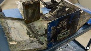 A damaged 787 Dreamliner battery