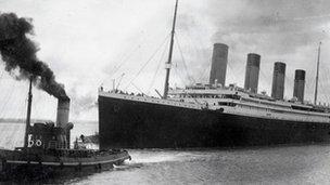 The Titanic leaves Southampton on April 10, 1912