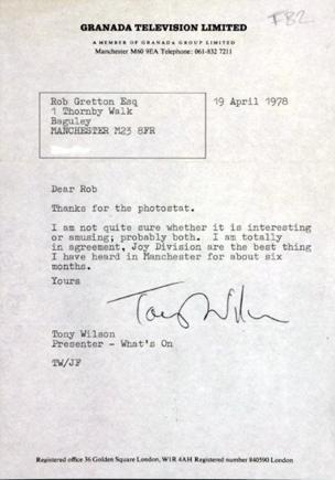 Tony Wilson letter to Rob Gretton