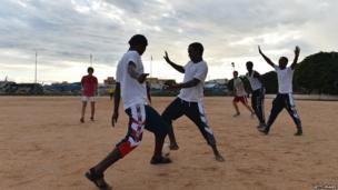 Eritreans playing football at Lampedusa Football Field, Lampedusa, Italy - Sunday 6 October 2013