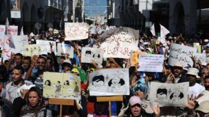 Demonstrators in Rabat, Morocco - Sunday 6 October 2013