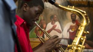 Musicians play during an orchestra rehearsal in Nairobi, Kenya - Sunday 6 October 2013