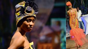 Models pictured during Congo Fashion week wearing designs by designer Grace Kelly, Kinshasa, DR Congo - Friday 4 October 2013