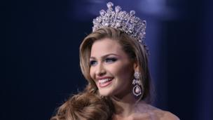 The new Miss Venezuela 2013, Migbelis Castellanos reacts after being selected in Caracas.