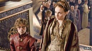Peter Dinklage and Sophie Turner feature in the HBO series Game of Thrones.