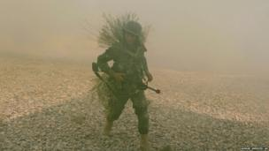 An Afghan National Army officer takes part in a training exercise