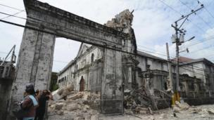 The damaged structure of the Basilica of the Holy Child in Cebu City