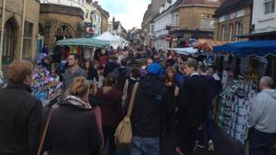 Cheap Street in Sherborne on Pack Monday 2013