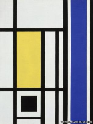 Marlow Moss, White, Black, Yellow and Blue, 1954. Private Collection