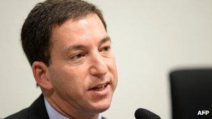 Glenn Greenwald at the Brazilian Senate in Brasilia, 9 October