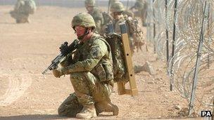 British soldier training in Afghanistan