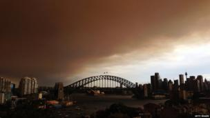 A general view of Sydney shrouded in smoke haze on 17 October 2013