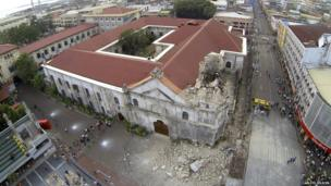 Aerial shot of the collapsed Sto Nino de Cebu bell tower. Photo: Carlito Felicen
