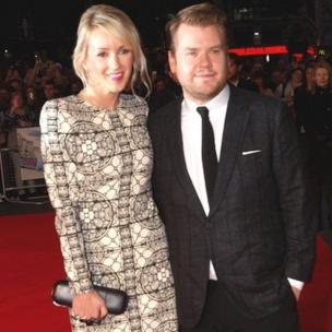 James Corden and his wife Julia Carey arrive at the premiere of One Chance