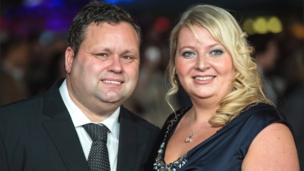 Paul Potts and his wife Julie-Ann Potts attend the European premiere of One Chance