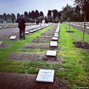 Line of graves in The Gardens of Peace, Muslim cemetery in Hainault, Essex, UK. Photo: Guleraana Mir