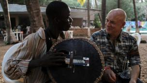 Fode Kante and Brian Eno. Photo taken by Manuel Toledo, BBC Africa