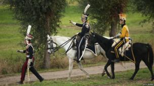 Re-enactors in uniforms of Polish lancers, Battle of Leipzig re-enactment (20 October)