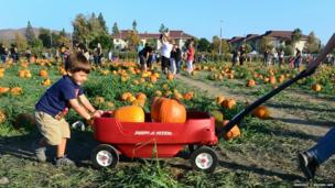 A child helps his mother by pushing a wagon filled with pumpkins