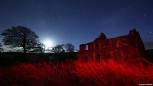 Derelict building on Glenshane Pass , with the moon setting with the stars and the Milky Way coming into view - by Martin McKenna
