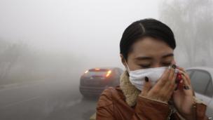 A woman wearing a mask in Harbin, northeast China's Heilongjiang province, 21 October 2013