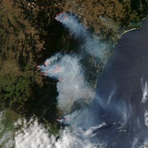 Nasa satellite image shows smoke from bushfires burning near Sydney