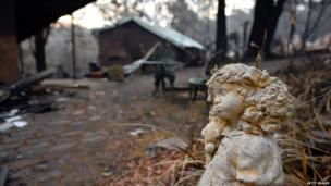 Statue stands outside a burnt out home in Winmalee. 22 Oct 2013
