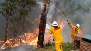 Fire in backyard in Faulconbridge. 22 Oct 2013