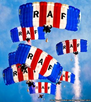 Royal Air Force Falcons freefall display team pictured from the landing zone