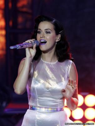 Singer Katy Perry performs Roar during the release party of her album Prism, in Los Angeles