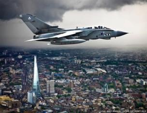Tornado GR4 flying over The Shard in London